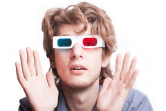 Man in a 3D glasses Stock Images