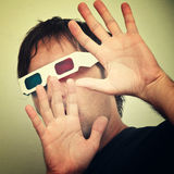 Man with 3D glasses Stock Photos