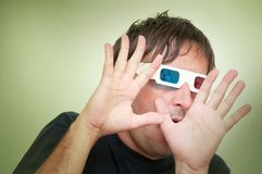 Man with 3D glasses Royalty Free Stock Image