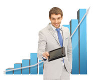 Man with 3d graphics and tablet pc Stock Images