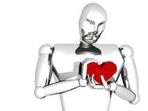 man 3D med hjärta i händer Royaltyfri Foto