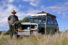 Man on 4x4 Tour. Bearded man, standing by his 4x4 truck, clearly on tour. Photo was taken in Namibia, Southern Africa stock images