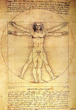 Man. Photo of the Vitruvian Man by Leonardo Da Vinci from 1492 on textured background stock images