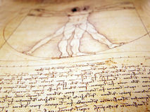 Man. Photo of the Vitruvian Man by Leonardo Da Vinci from 1492 on textured background stock photography