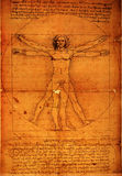Man. Photo of the Vitruvian Man by Leonardo Da Vinci from 1492 on textured background royalty free stock photo