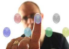 Man with 7 Buttons to choose Stock Images