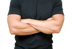 Man. Young man's torso in black shirt Royalty Free Stock Photography