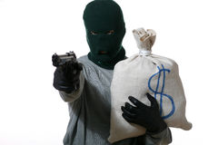 Man. An image of a man in mask with gun and bag Stock Photography