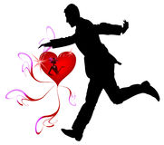 Man. Trying to catch lady's heart Stock Photos