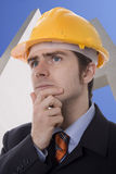 Man. Young business man building think Stock Image
