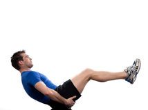 Man Abdominals Body paripurna navasana. Man on Abdominals workout posture on white background. Spice it up. This time bring your thighs to vertical and bend your stock image