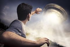 Man About To Be Abducted By Aliens Stock Image