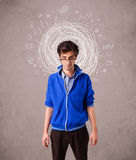 Man with abstract circular doodle lines and icons. Young man with abstract circular doodle lines and icons royalty free illustration