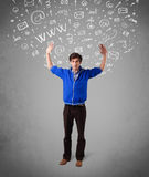 man with abstract white media icon doodles on gradient background Stock Photo