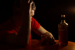 The man abuses alcohol Royalty Free Stock Photography