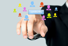 Man accessing his community page Stock Photo