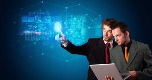 Man accessing hologram with fingerprint. Man accessing modern hologram personal database with fingerprint identification stock image