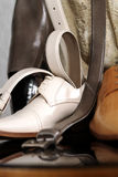 Man accessories. Still life of a leather shoe with belt for man or bridegroom stock images
