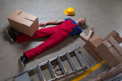 Man after accident on a ladder Royalty Free Stock Images
