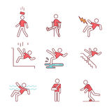 Man accident and traumas safety sign set. Thin line art icons. Flat style illustrations isolated on white Stock Photos