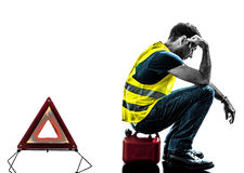 Man accident yellow vest warning triangle silhouette Royalty Free Stock Image