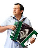 A man with accordion. A man playing Russian accordion. Isolated royalty free stock photos