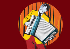 Man with accordion Stock Images