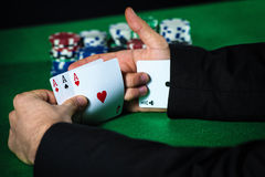 Man with ace up his sleeve Royalty Free Stock Photos