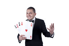 Man with aces Stock Images