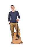 Man with acoustic guitar Stock Images