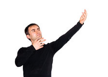 Man acting a role. Man acting a theater role stock photo