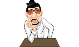 Man action cartoon, line sticker vector. Man in many actions cartoon, line sticker vector Royalty Free Stock Photo