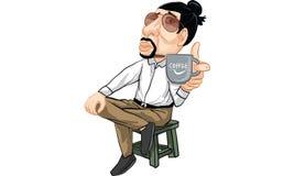 Man action cartoon, line sticker vector. Man in many actions cartoon, line sticker vector Royalty Free Stock Image
