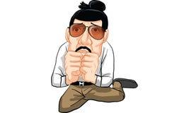 Man action cartoon, line sticker vector. Man in many actions cartoon, line sticker vector Stock Photos