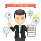 Man with action plan. Man with action plan on board with lightbulb and gears. Concept of time management and strategy Royalty Free Stock Photography