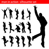 Man in action silhouette set Royalty Free Stock Image