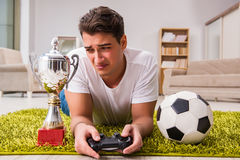 The man addicted to computer games Stock Photography