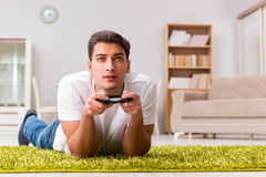 The man addicted to computer games Royalty Free Stock Photography