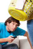 Man addicted to the television stock photography