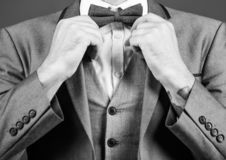 Man adjust suit with bow tie. Formal suit jacket close up. Male fashion and aesthetic. Businessman formal outfit. Classic style aesthetic. Perfect suit fit him stock photos
