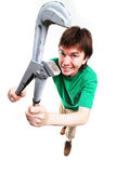 Man with adjustable spanner. Royalty Free Stock Photography