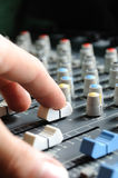 Man adjusting audio mixer Stock Photography