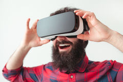 Man adjusting the VR headset Stock Image