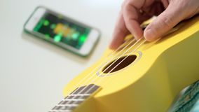 A man adjusts the ukulele using the application on the phone. 4k stock video footage