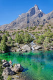Man admires majestic mountain lake in Tajikistan. Man admires majestic blue mountain lake in Tajikistan Royalty Free Stock Photography