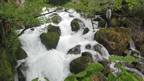 The man admires waterfall in a humid tropical forest. Stormy stream of a mountain river. Clean water rises up and foams. A stormy stream of spike with a spray stock video footage