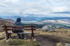 Man admiring landscape view on a bench stock images