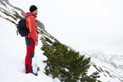 A man admiring mountains Stock Images