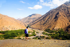 Man admiring scenery in atlas mountains, morocco. Man admiring landscape of atlas mountains royalty free stock photo
