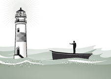 Man adrift in boat and lighthouse. Illustration of a lighthouse and a man nearby, standing in a boat at sea royalty free illustration